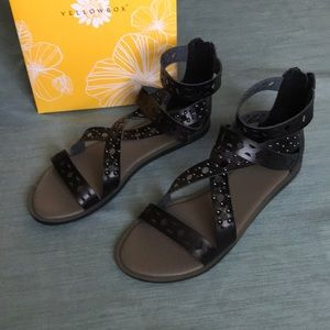 YellowBox Freedom Black Strappy Sandals 8.5 M New